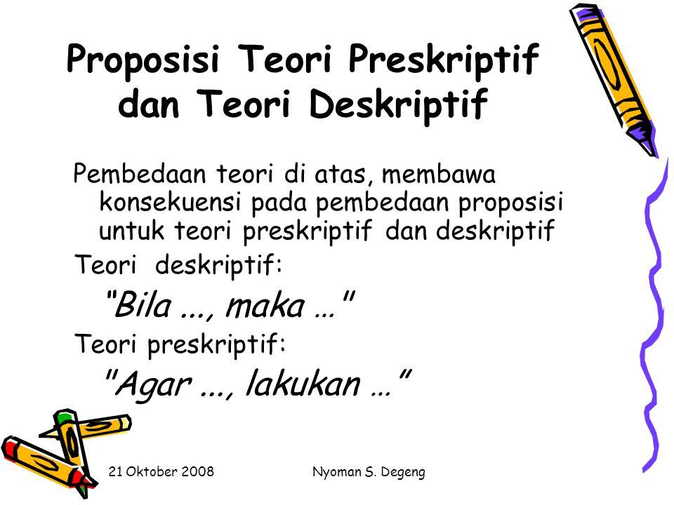 Proposisi Teori Preskriptif dan Teori Deskriptif
