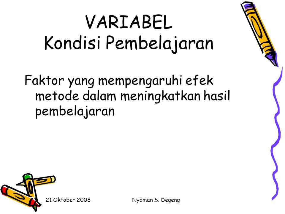 VARIABEL Kondisi Pembelajaran