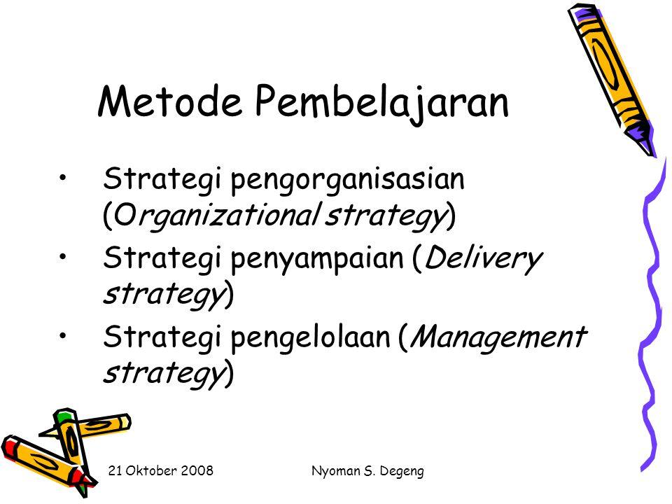 Metode Pembelajaran Strategi pengorganisasian (Organizational strategy) Strategi penyampaian (Delivery strategy)