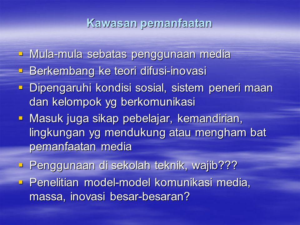 Kawasan pemanfaatan Mula-mula sebatas penggunaan media. Berkembang ke teori difusi-inovasi.