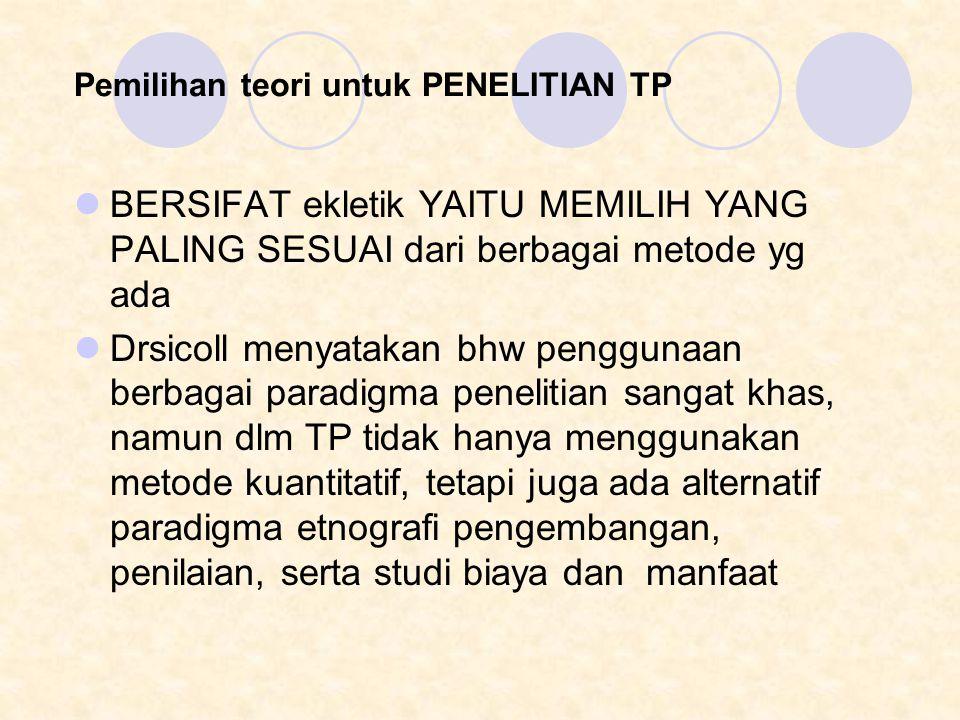 Pemilihan teori untuk PENELITIAN TP