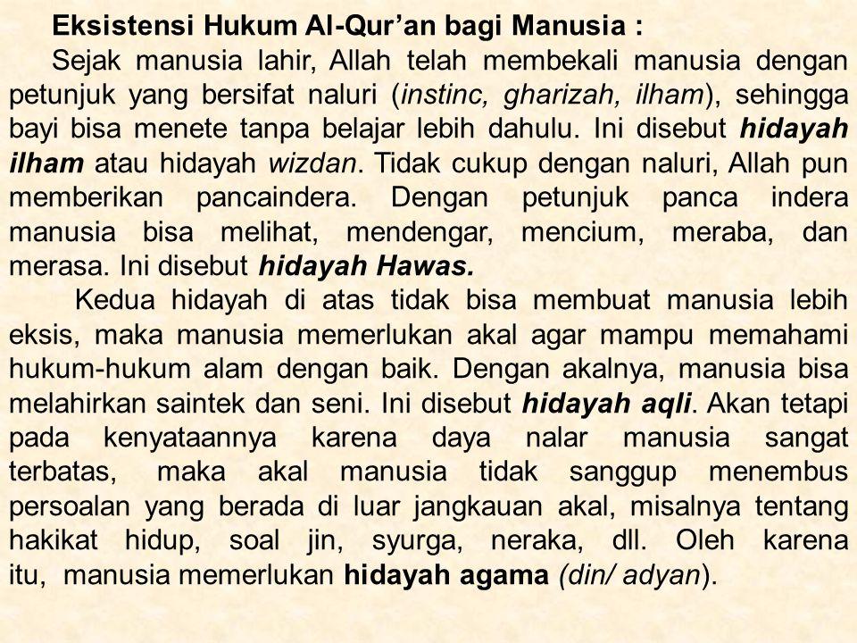 Eksistensi Hukum Al-Qur'an bagi Manusia :
