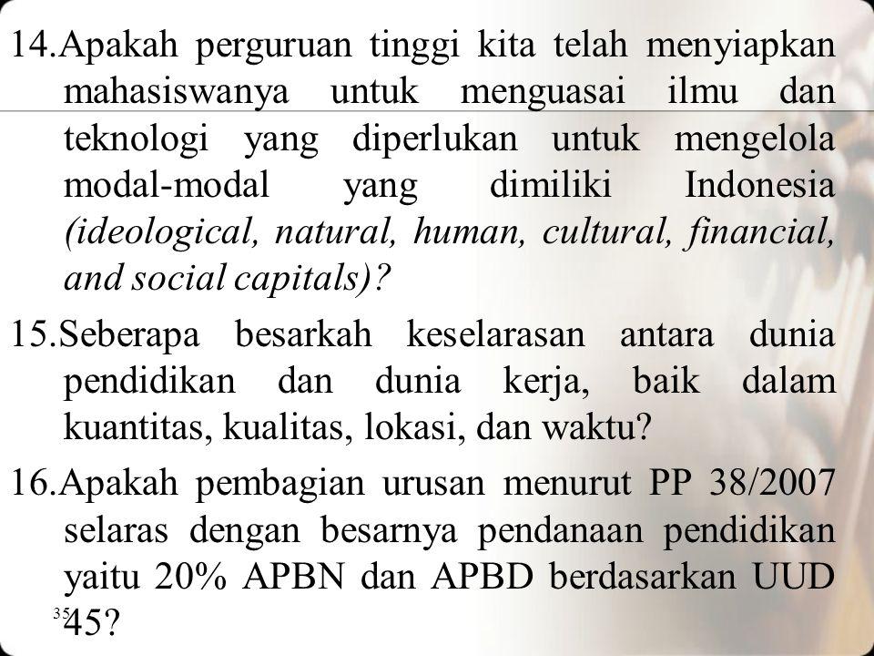 14.Apakah perguruan tinggi kita telah menyiapkan mahasiswanya untuk menguasai ilmu dan teknologi yang diperlukan untuk mengelola modal-modal yang dimiliki Indonesia (ideological, natural, human, cultural, financial, and social capitals)