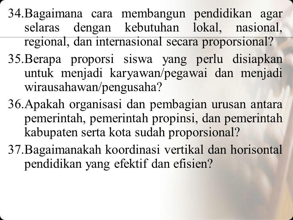 34.Bagaimana cara membangun pendidikan agar selaras dengan kebutuhan lokal, nasional, regional, dan internasional secara proporsional.