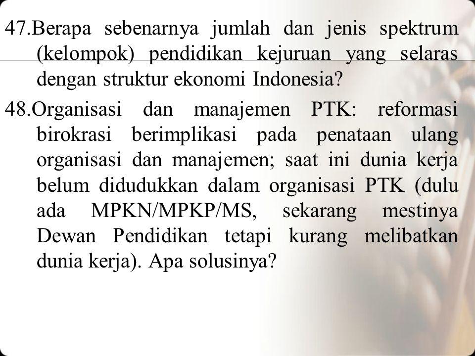 47.Berapa sebenarnya jumlah dan jenis spektrum (kelompok) pendidikan kejuruan yang selaras dengan struktur ekonomi Indonesia.