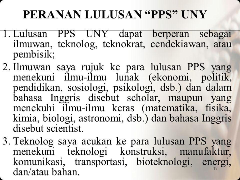 PERANAN LULUSAN PPS UNY
