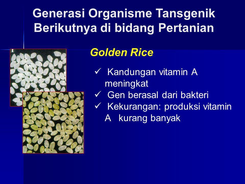 Generasi Organisme Tansgenik Berikutnya di bidang Pertanian