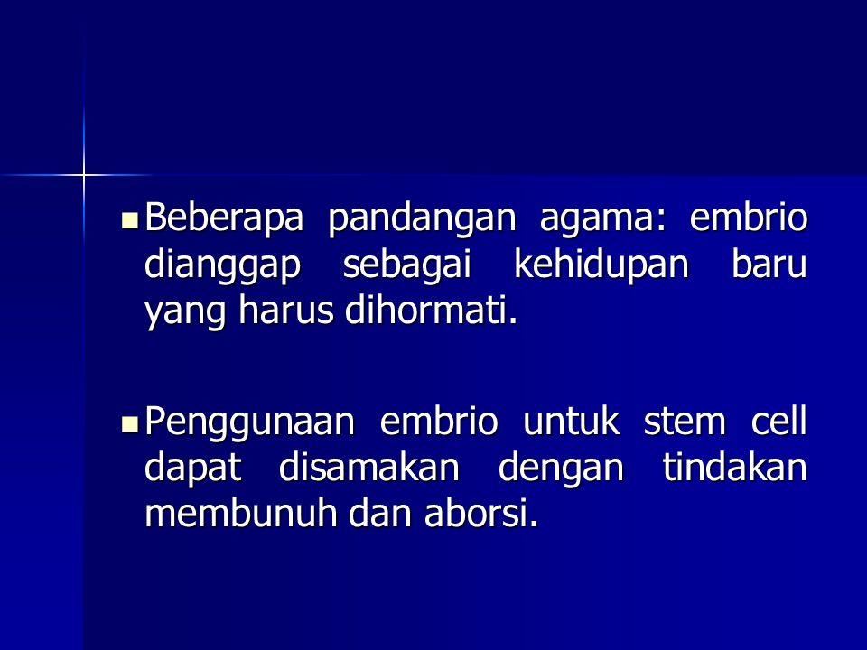 Beberapa pandangan agama: embrio dianggap sebagai kehidupan baru yang harus dihormati.