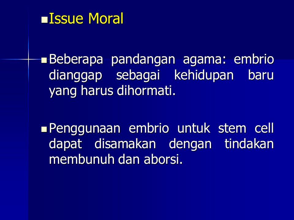 Issue Moral Beberapa pandangan agama: embrio dianggap sebagai kehidupan baru yang harus dihormati.