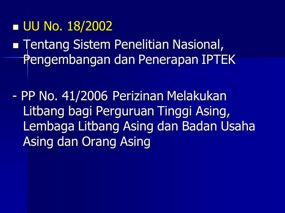 UU No. 18/2002 Tentang Sistem Penelitian Nasional, Pengembangan dan Penerapan IPTEK.