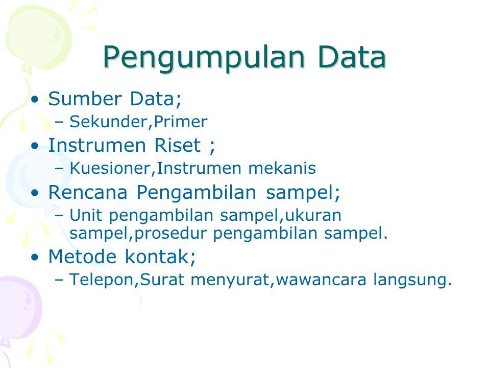 Pengumpulan Data Sumber Data; Instrumen Riset ;