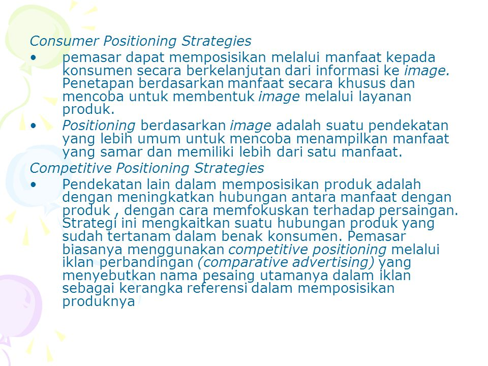 Consumer Positioning Strategies