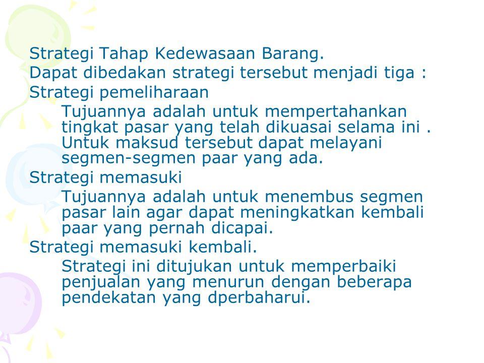 Strategi Tahap Kedewasaan Barang.
