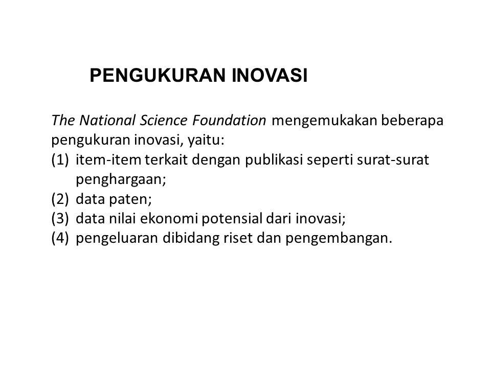 PENGUKURAN INOVASI The National Science Foundation mengemukakan beberapa pengukuran inovasi, yaitu: