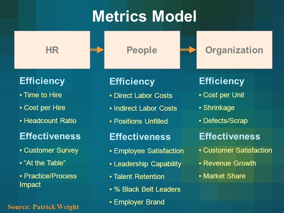 Metrics Model HR People Organization Efficiency Effectiveness
