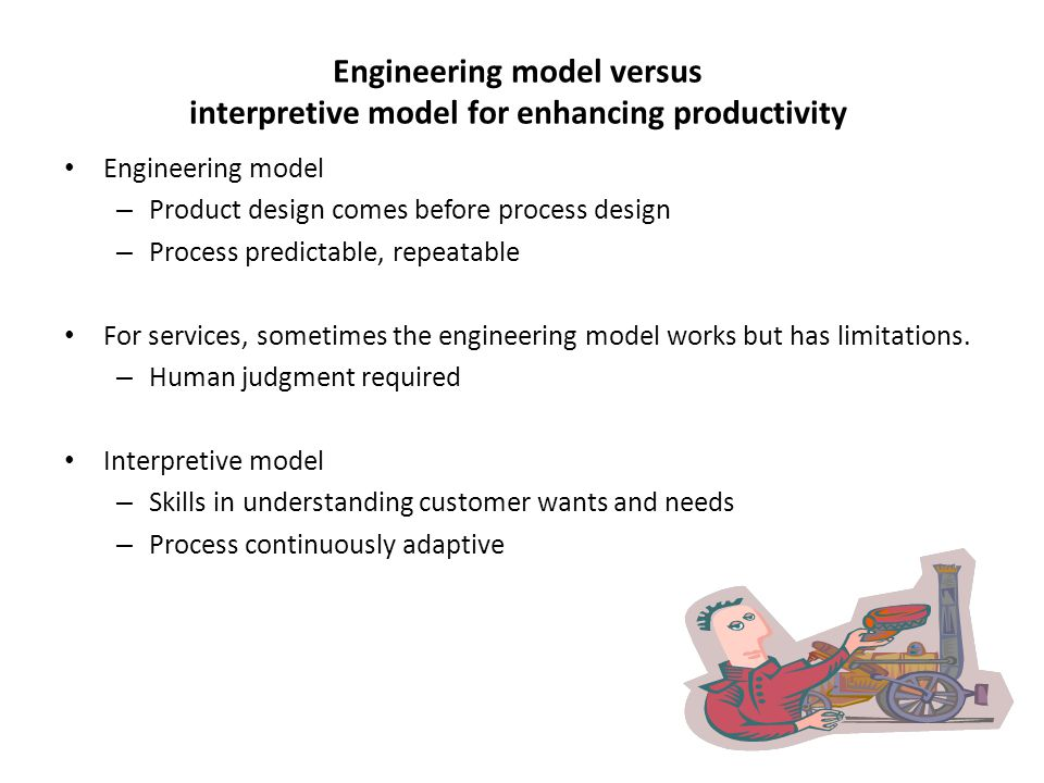Engineering model versus interpretive model for enhancing productivity