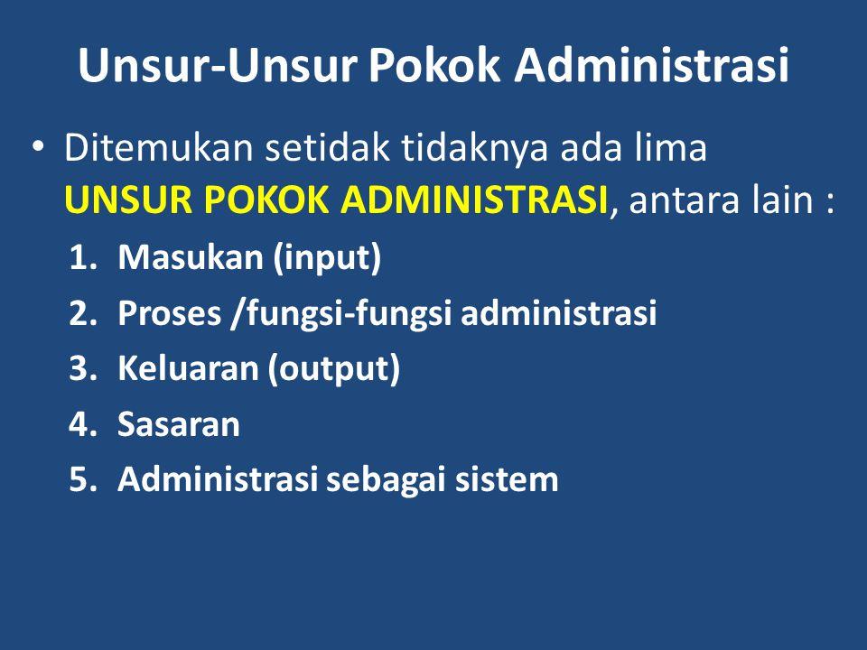 Unsur-Unsur Pokok Administrasi
