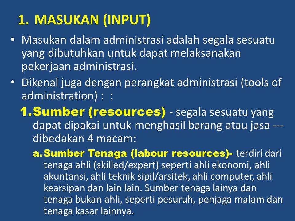 MASUKAN (INPUT) Masukan dalam administrasi adalah segala sesuatu yang dibutuhkan untuk dapat melaksanakan pekerjaan administrasi.