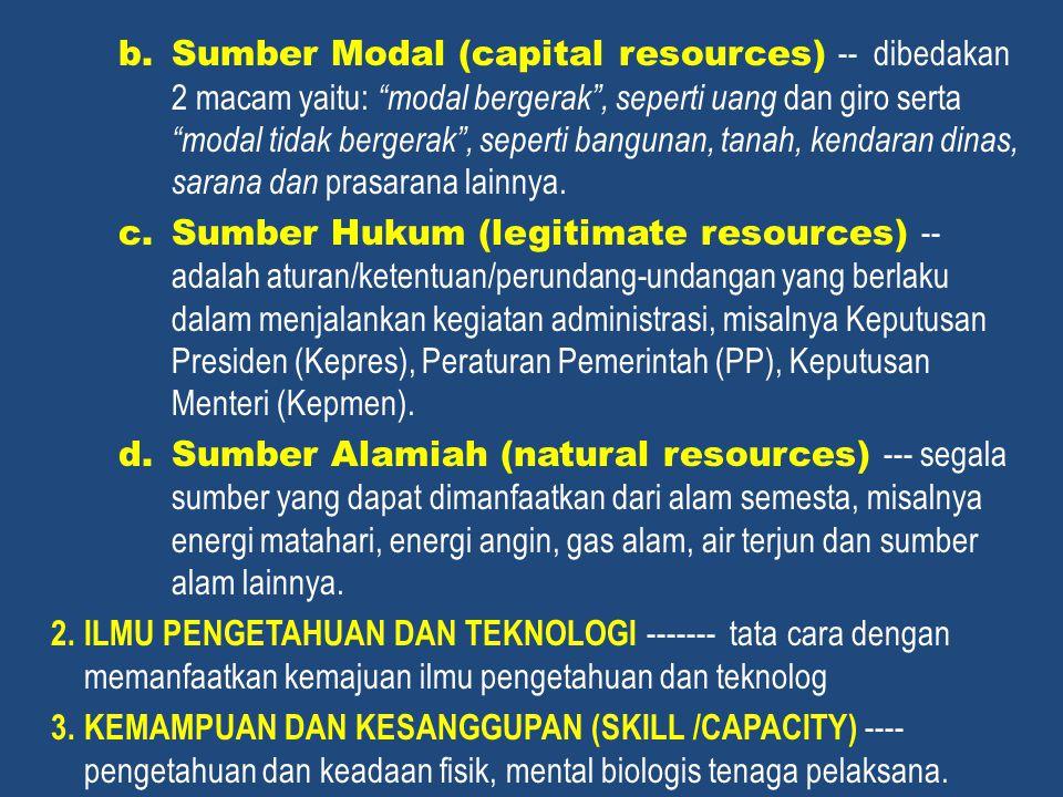 Sumber Modal (capital resources) -- dibedakan 2 macam yaitu: modal bergerak , seperti uang dan giro serta modal tidak bergerak , seperti bangunan, tanah, kendaran dinas, sarana dan prasarana lainnya.