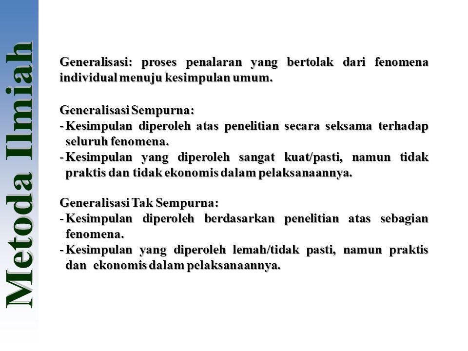 Generalisasi: proses penalaran yang bertolak dari fenomena individual menuju kesimpulan umum.