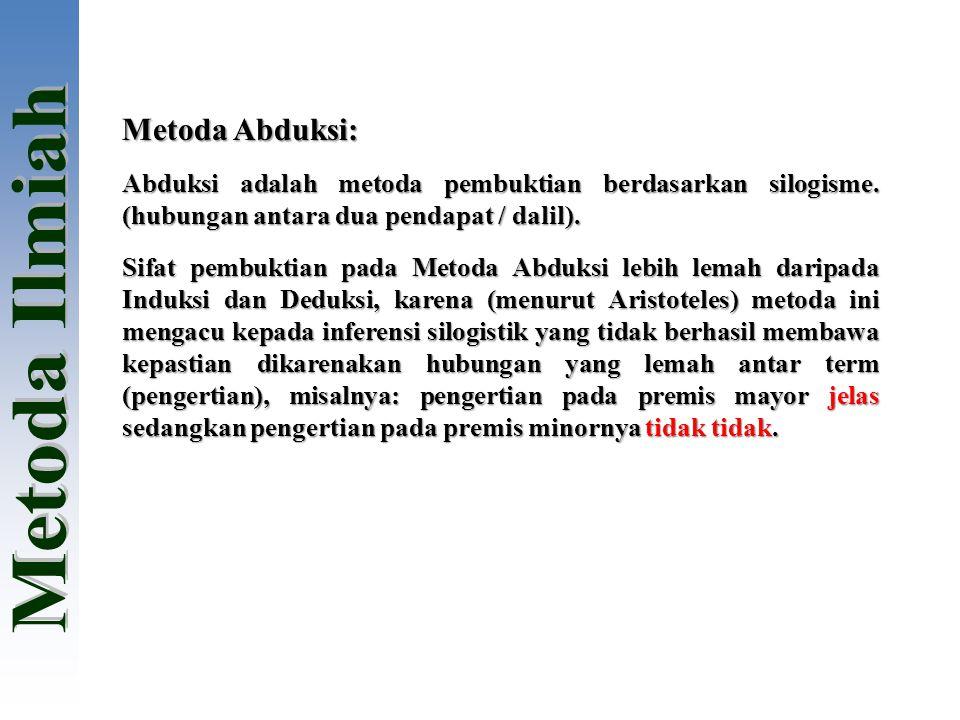 Metoda Abduksi: Abduksi adalah metoda pembuktian berdasarkan silogisme. (hubungan antara dua pendapat / dalil).