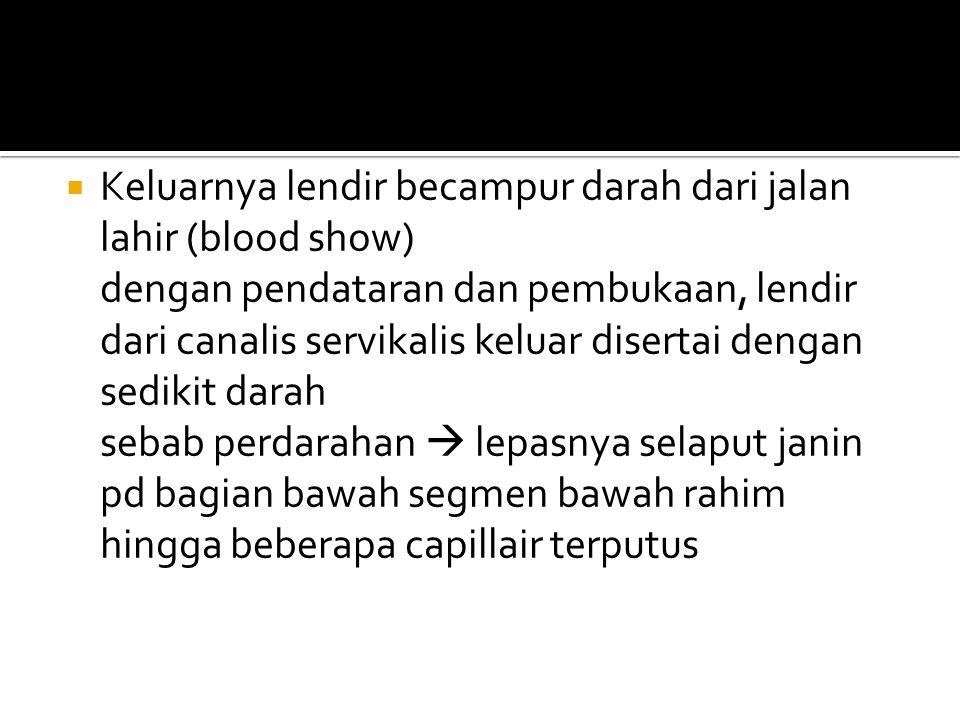 Keluarnya lendir becampur darah dari jalan lahir (blood show)