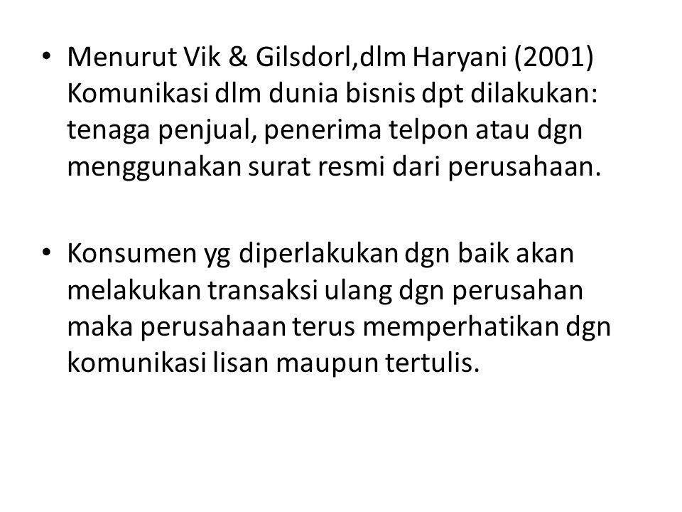 Menurut Vik & Gilsdorl,dlm Haryani (2001) Komunikasi dlm dunia bisnis dpt dilakukan: tenaga penjual, penerima telpon atau dgn menggunakan surat resmi dari perusahaan.