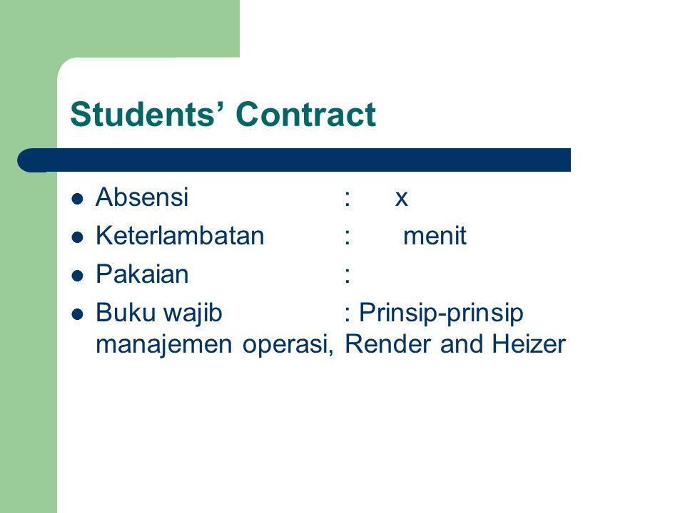 Students' Contract Absensi : x Keterlambatan : menit Pakaian :