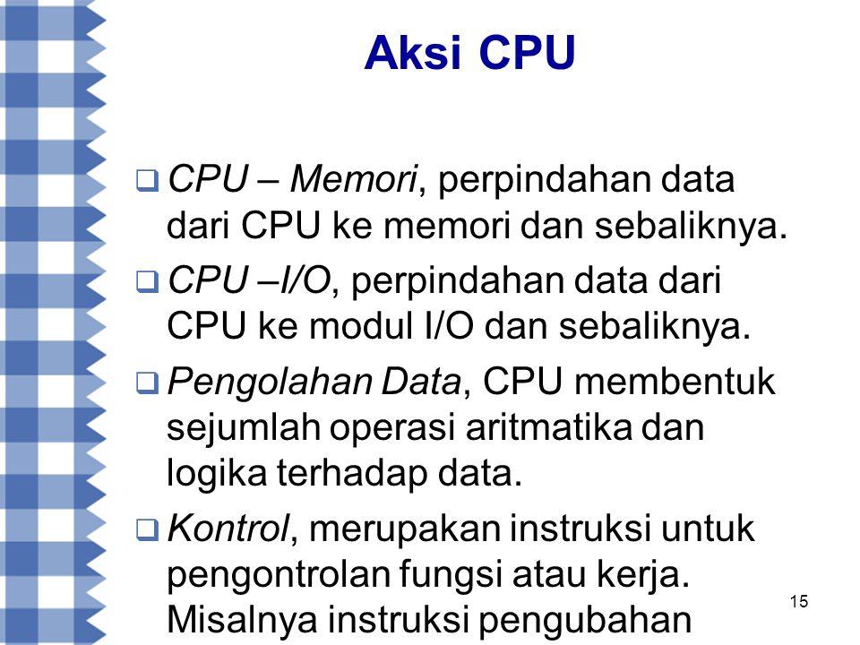 Aksi CPU CPU – Memori, perpindahan data dari CPU ke memori dan sebaliknya. CPU –I/O, perpindahan data dari CPU ke modul I/O dan sebaliknya.