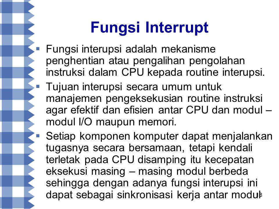 Fungsi Interrupt Fungsi interupsi adalah mekanisme penghentian atau pengalihan pengolahan instruksi dalam CPU kepada routine interupsi.
