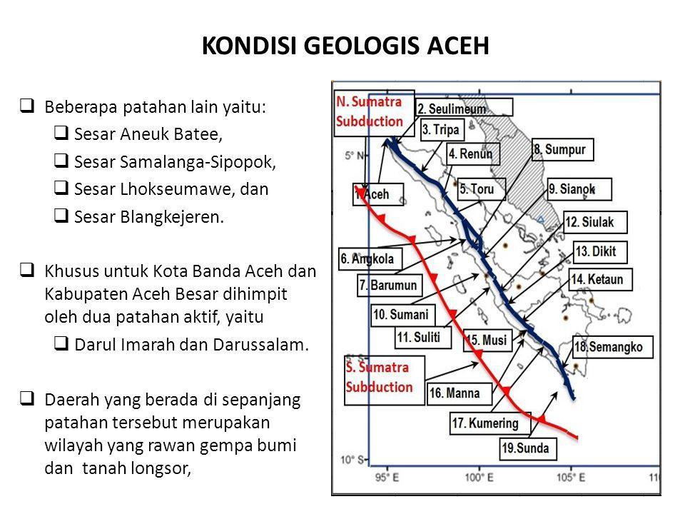 KONDISI GEOLOGIS ACEH Beberapa patahan lain yaitu: Sesar Aneuk Batee,