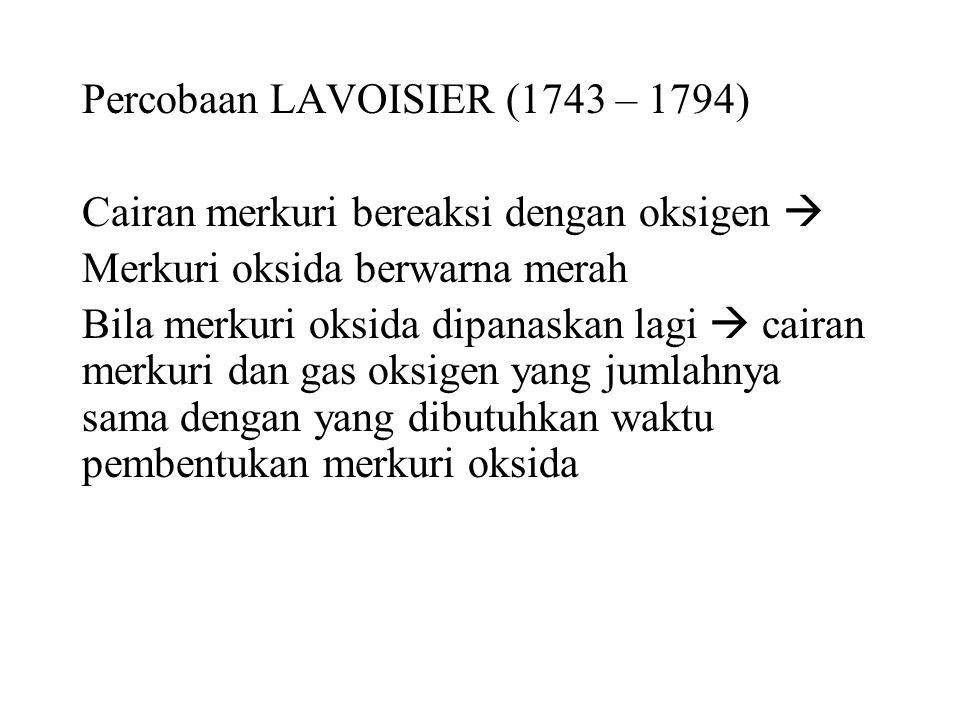 Percobaan LAVOISIER (1743 – 1794)