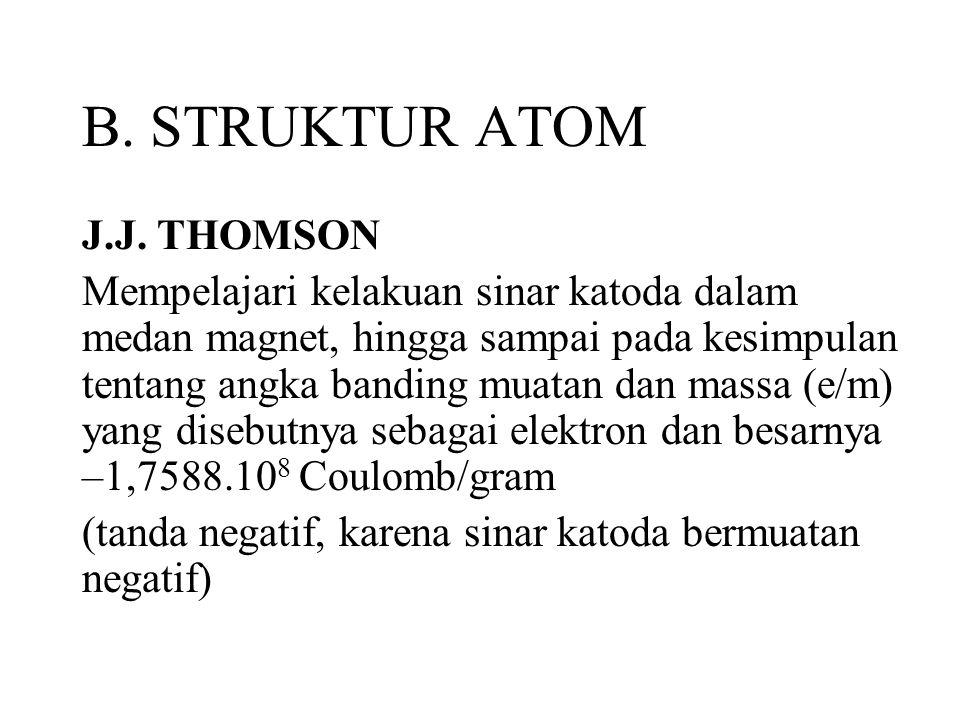 B. STRUKTUR ATOM J.J. THOMSON