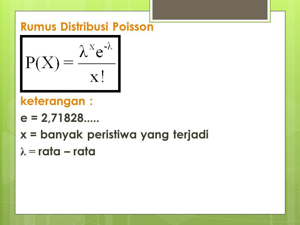 Rumus Distribusi Poisson keterangan : e = 2,71828