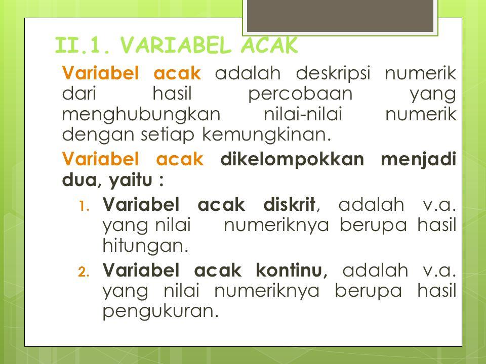 II.1. VARIABEL ACAK Variabel acak dikelompokkan menjadi dua, yaitu :