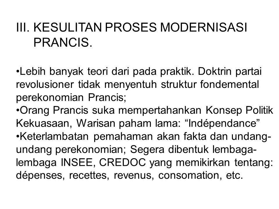 KESULITAN PROSES MODERNISASI PRANCIS.