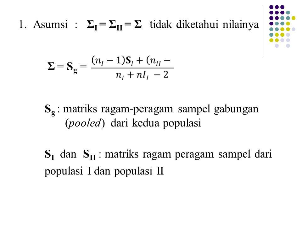 1. Asumsi : ΣI = ΣII = Σ tidak diketahui nilainya Σ = Sg = Sg : matriks ragam-peragam sampel gabungan (pooled) dari kedua populasi SI dan SII : matriks ragam peragam sampel dari populasi I dan populasi II