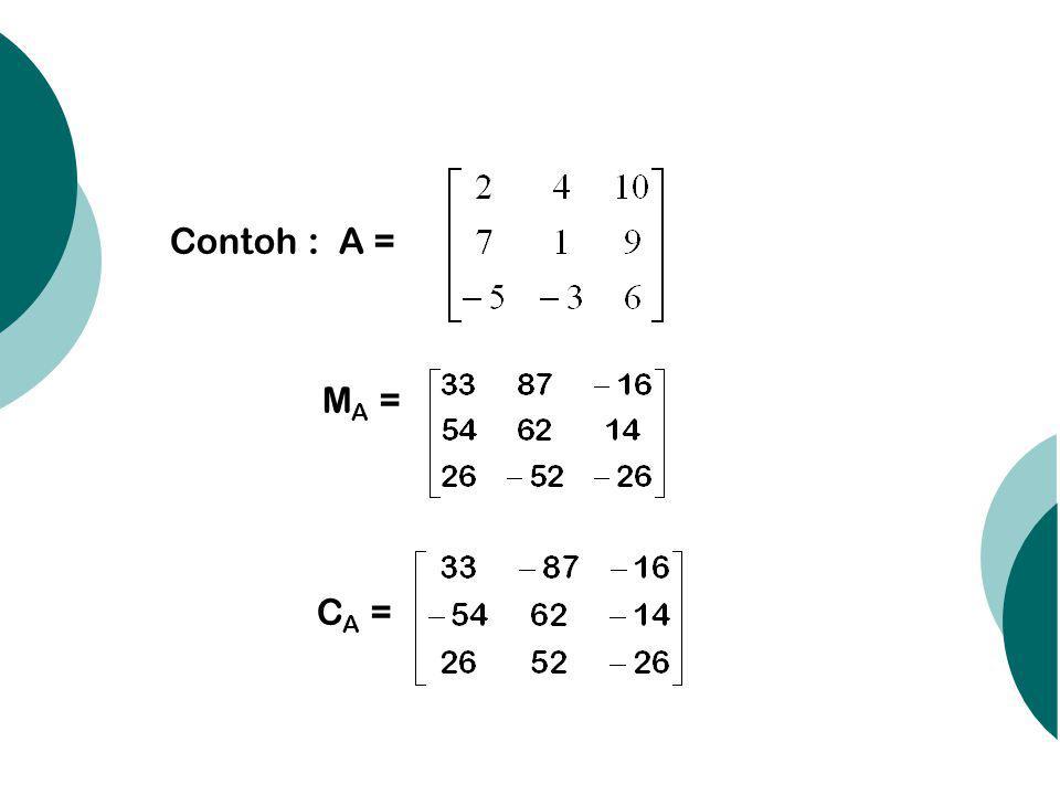 Contoh : A = MA = CA =