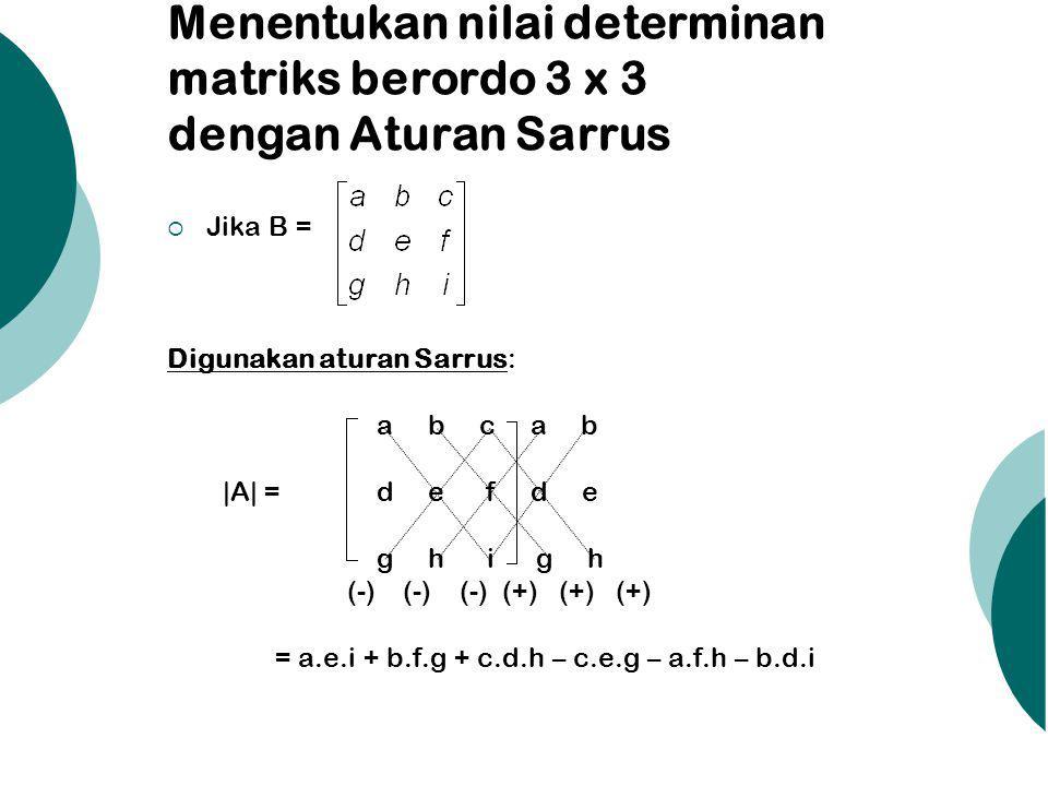 Menentukan nilai determinan matriks berordo 3 x 3 dengan Aturan Sarrus
