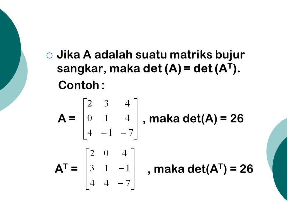 Jika A adalah suatu matriks bujur sangkar, maka det (A) = det (AT).