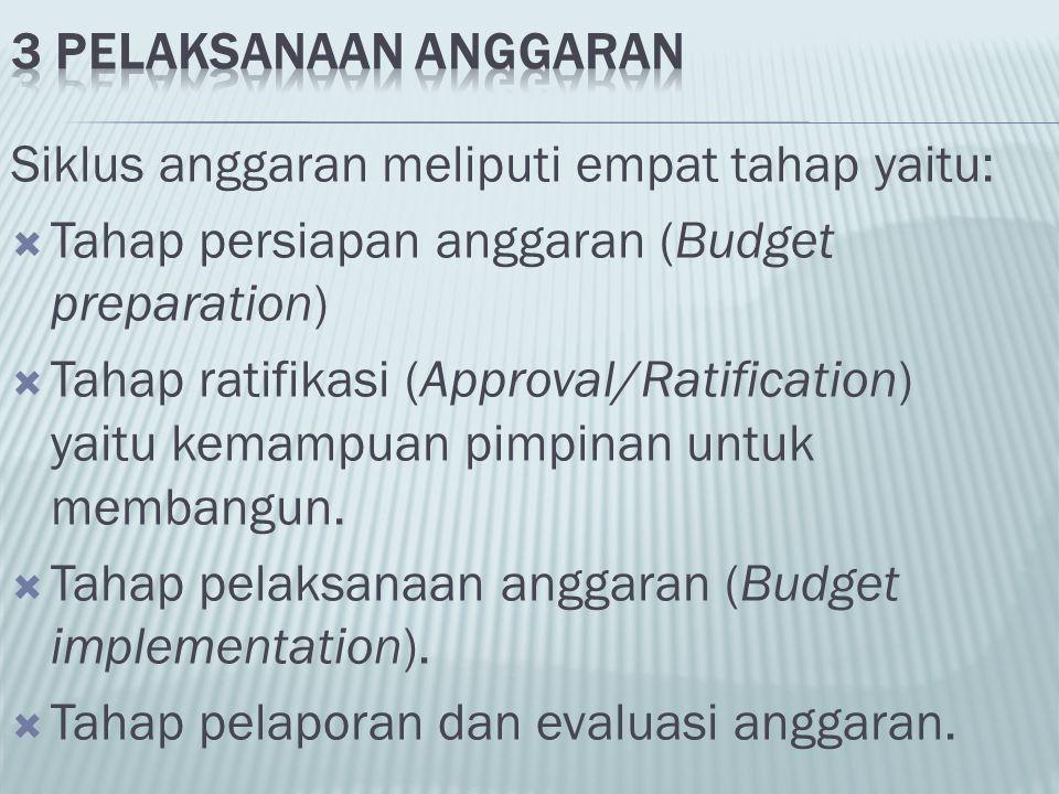 Siklus anggaran meliputi empat tahap yaitu: