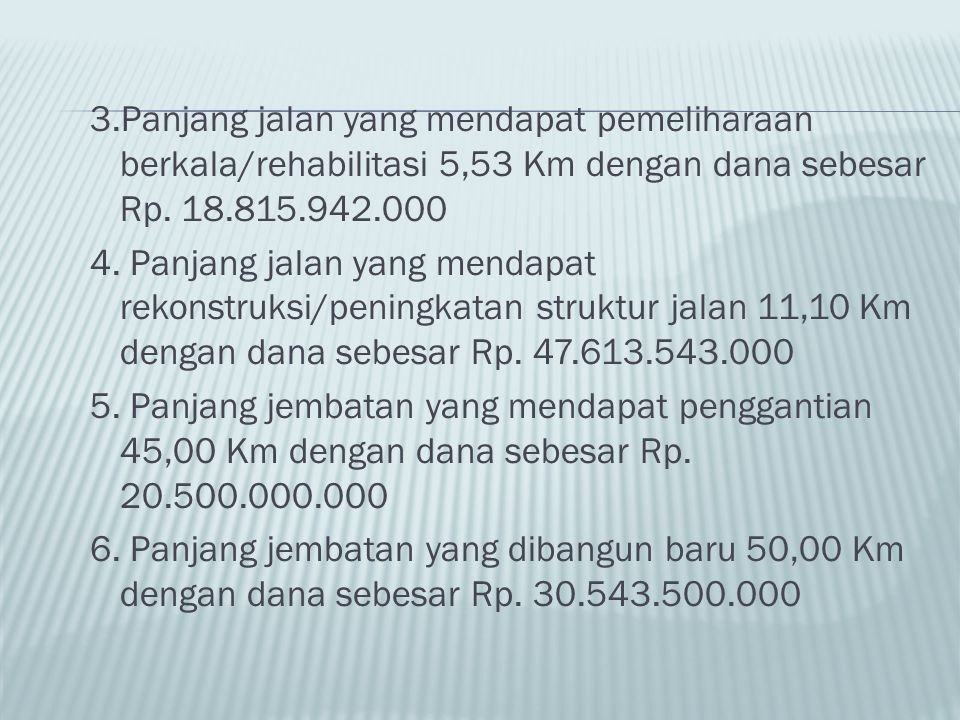 3.Panjang jalan yang mendapat pemeliharaan berkala/rehabilitasi 5,53 Km dengan dana sebesar Rp. 18.815.942.000