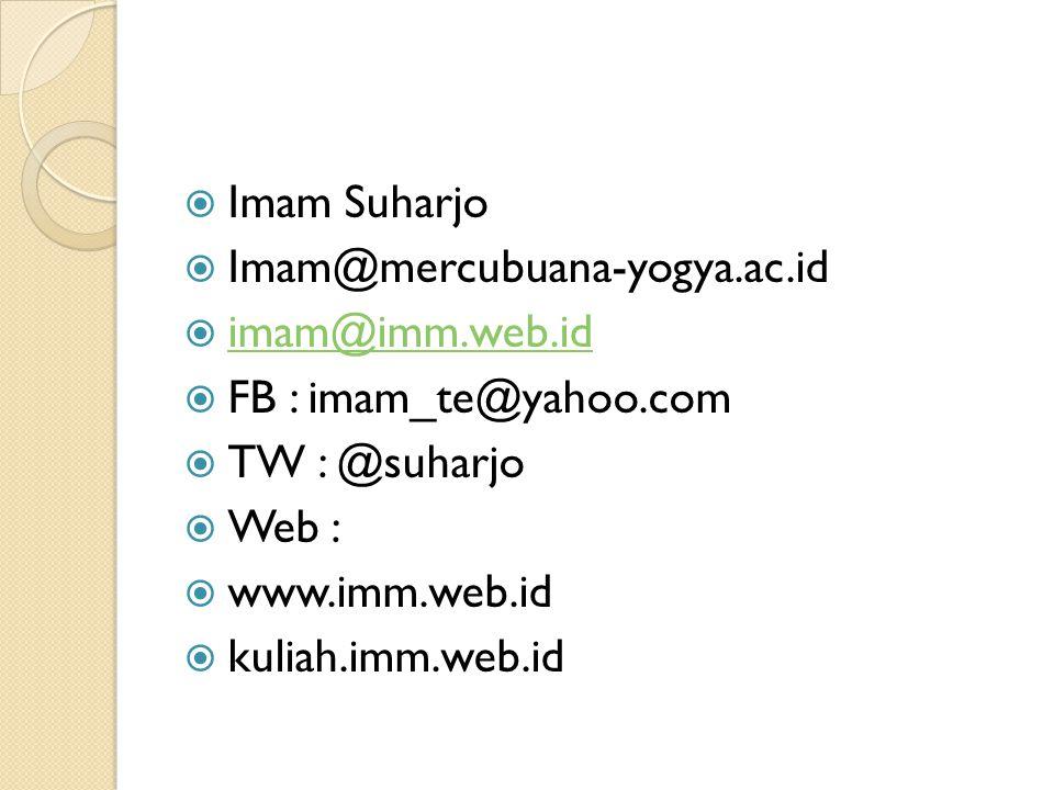 Imam Suharjo Imam@mercubuana-yogya.ac.id. imam@imm.web.id. FB : imam_te@yahoo.com. TW : @suharjo.