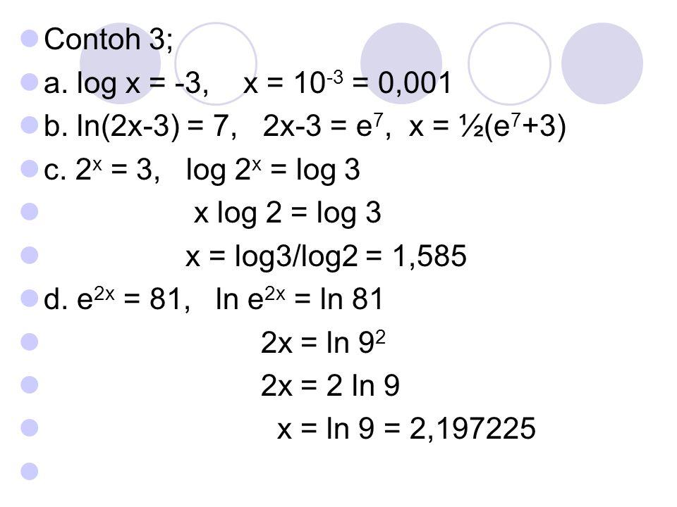 Contoh 3; a. log x = -3, x = 10-3 = 0,001. b. ln(2x-3) = 7, 2x-3 = e7, x = ½(e7+3) c. 2x = 3, log 2x = log 3.