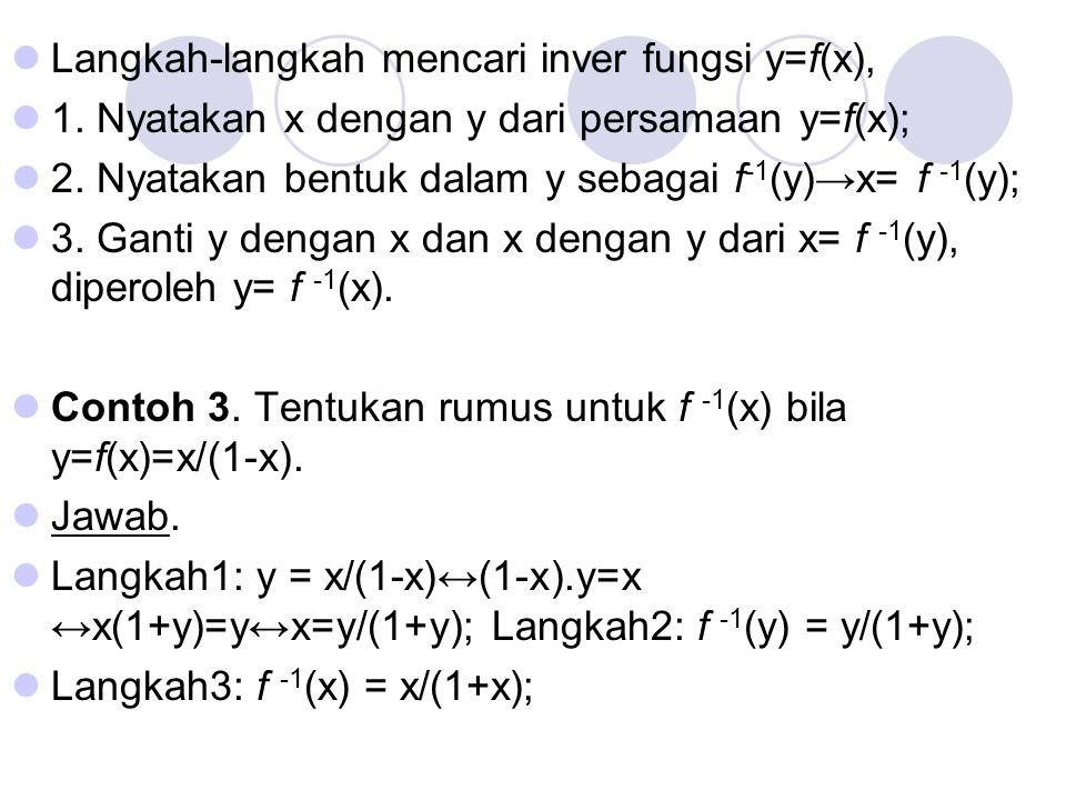 Langkah-langkah mencari inver fungsi y=f(x),
