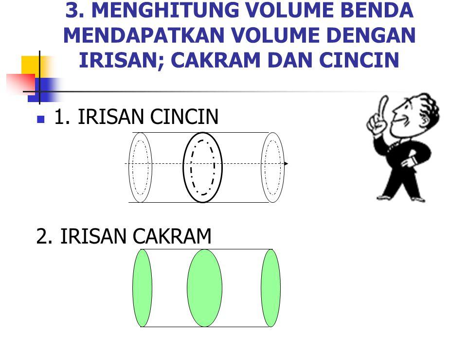 3. MENGHITUNG VOLUME BENDA MENDAPATKAN VOLUME DENGAN IRISAN; CAKRAM DAN CINCIN