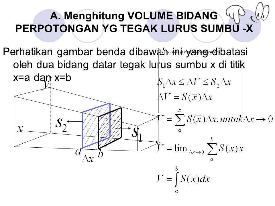A. Menghitung VOLUME BIDANG PERPOTONGAN YG TEGAK LURUS SUMBU -X