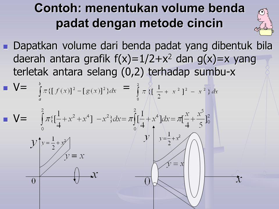 Contoh: menentukan volume benda padat dengan metode cincin