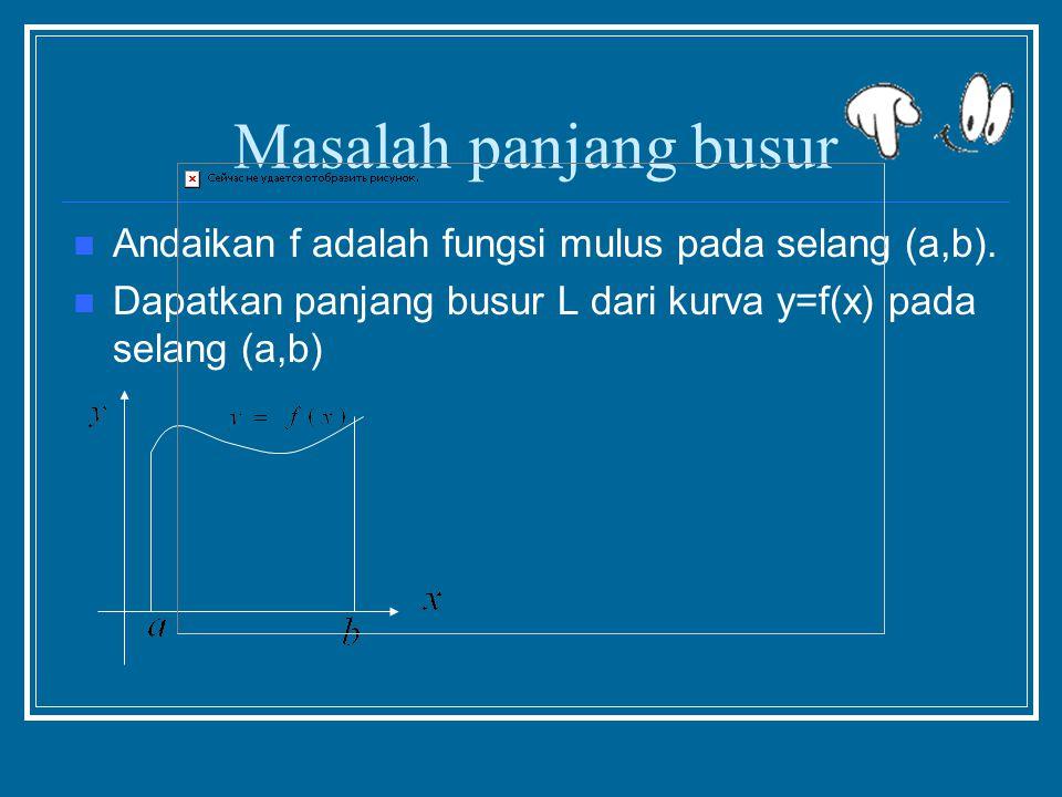 Masalah panjang busur Andaikan f adalah fungsi mulus pada selang (a,b).