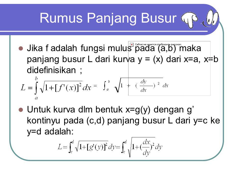 Rumus Panjang Busur Jika f adalah fungsi mulus pada (a,b) maka panjang busur L dari kurva y = (x) dari x=a, x=b didefinisikan ;